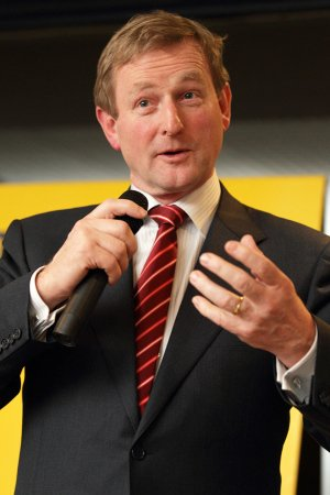 Enda Kenny speaking at party rally.