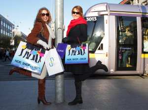 HOP SHOP and DROP PR, Models and Luas on O'Connell Street.