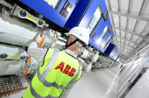 ABB Ireland engineer at work, heavy machinery.