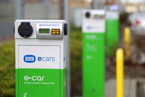 ESB ecars charging point at Luas Stop.