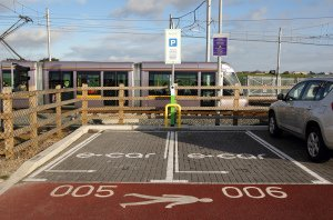 E-Car Charging point at Luas Stop.
