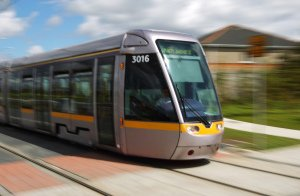 Professional Photograph of Luas Tram at Speed.