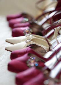 Close up detail of wedding shoes.