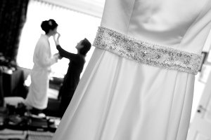 Black and White Photo of the Wedding Dress on the morning of the wedding.