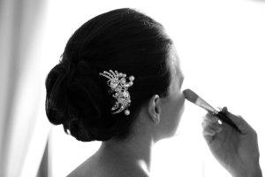 Bridal Makeup, black and white photograph.