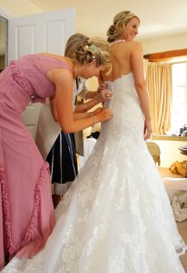 Bride getting ready at Brooklodge before wedding.