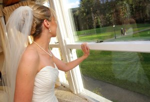 Bride waiting at Brooklodge for ceremony to begin.