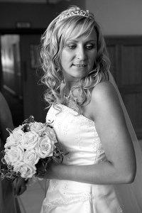 Bride looking over her shoulder.