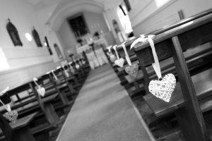 Black & White Wedding Photograph of Church before Ceremony.