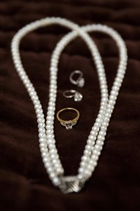 Close up photograph of bridal jewellery.