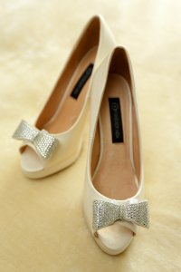 Stunning wedding shoes photographed.