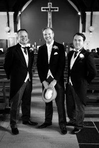 Groom and Groomsmen before wedding ceremony.