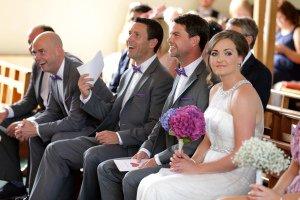Wedding Ceremony bridal party & bride & groom.