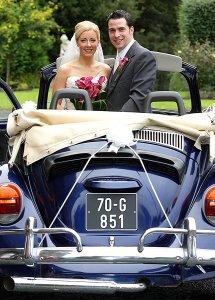 Bride & Groom in Wedding car, Beetle.