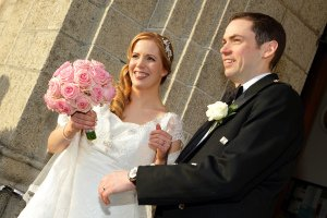 Bride and Groom outside Foxrock Church.