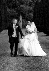 Bride & Groom Walking.