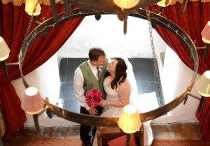 Bride & Groom Romantic Kiss.