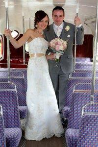 Bride & Groom on London Bus, Wedding Photograph.
