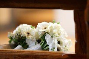 Bridal Flowers on Church Pew.