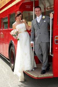 Bride & Groom on London Bus.