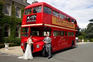 Wedding Couple, London Bus at Finnstown House.