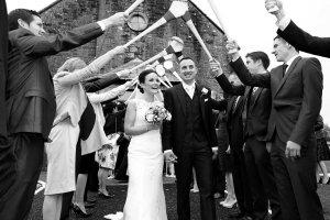 Bride & Groom Exiting Church.
