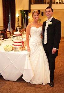 Bride and Groom and wedding cake.