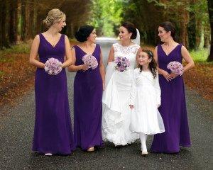 Bridal party walking.