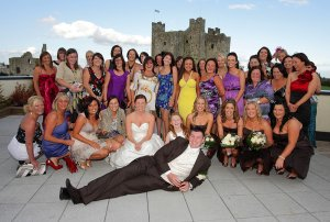 Fun group wedding photo at Trim Castle.