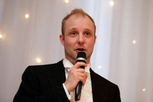 Groom making wedding speech.