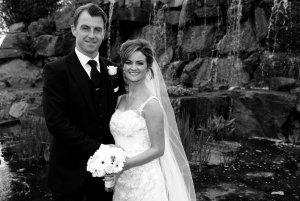 Wedding Couple, black & white formal pose.