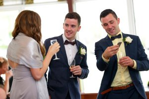 Guests at wedding reception.