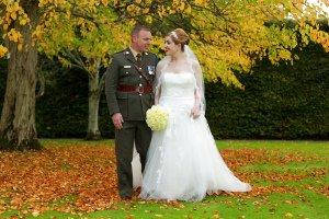 Formal Portrait Wedding Couple walking, Leixlip House.