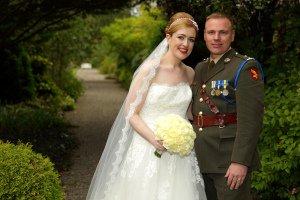 Military Wedding, Bride and Groom.